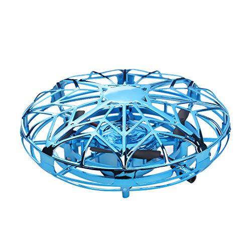 TwoCC Mini-Ufo-Drohne, Wahrnehmung von Flugzeugen, Die Ufo-Untertasse Fliegen, Infrarot-Aufhängung, Rotation, Manuelle Quadrocopter-Uav, Interaktiver Hubschrauber, Fliegender Ball, Induktion(Blau)