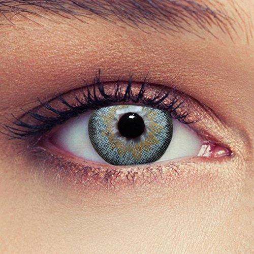 2 Blaue Kontaktlinsen mit Stärke für einen natürlichen Effekt Monatslinsen geeignet für dunkle Augen + Gratis Behälter -2,75