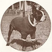 Boston Terrier Size Dog Blanket Sweater Coat Vintage Knitting Knit Pattern