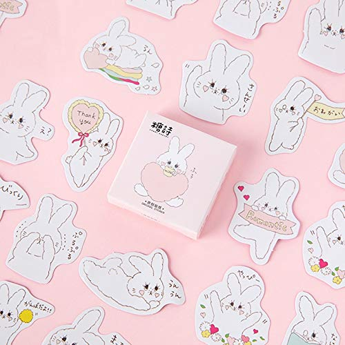 Kawaii Cartoon Leuke Wit Konijn Washi Masker Sticker Scrapbooking Meisje School benodigdheden Kantoorbenodigdheden 45 vellen