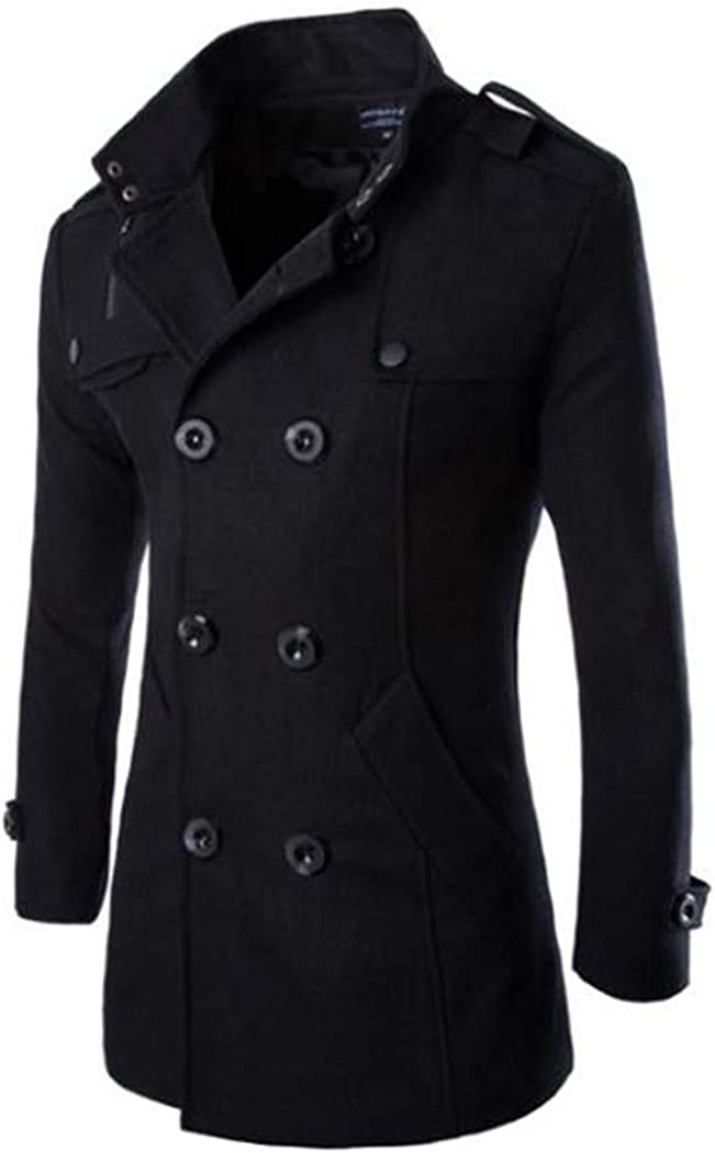 Mens Mid-Long Wool Classic Blend Double Breasted Pea Coat Stand Collar