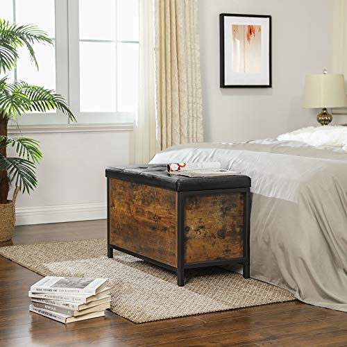 VASAGLE Sitzbank mit Stauraum, gepolsterte Truhe, 80 x 40 x 50 cm, Betttruhe, Flur, Schlafzimmer, Wohnzimmer, Metall, einfacher Aufbau, Industrie-Design, Kunstleder, vintagebraun-schwarz LSC80BX - 3