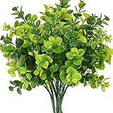 NAHUAA 4Pcs Hojas de Eucalipto Artificial Plantas Verdes Ramas de Follaje Falsas de Plástico para el Verano Jardín del Hogar Patio Patio Casa de Campo Decoración al Aire Libre Interior
