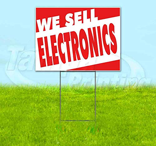 """WE Sell Electronics (18"""" x 24"""") Yard Sign, Quantity Discounts, Multi-Packs, Includes Metal Step Stake, Bandit, New, Advertising, USA"""