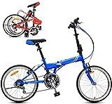 Niños Bici de montaña de 20 pulgadas, bicicleta de los niños Juventud, plegable bicicleta de montaña unisex, zoom de 21 velocidades, unisex ligero de Cercanías de bicicletas (Color: Azul) Jialele
