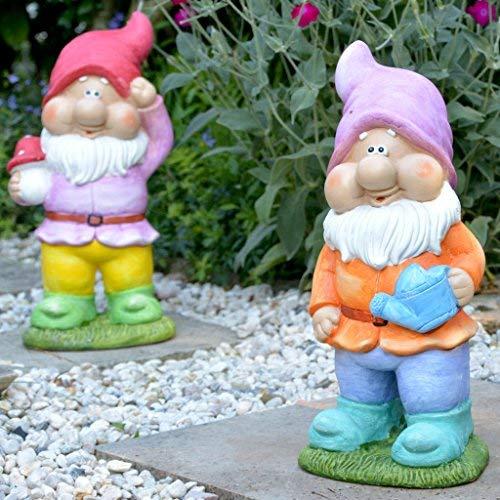 INtrenDU Lustige Gartenzwerge 42cm groß im Set Garten Deko Figuren GNOME Statue