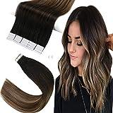 Sunny Extension Adhesive Cheveux Pas Cher Ombre Hair Noir Naturel a Marron Foncé mixte Blond Cendré Balayage Extension Adhesive Naturel Remy Hair 20pcs/50g 14Pouces