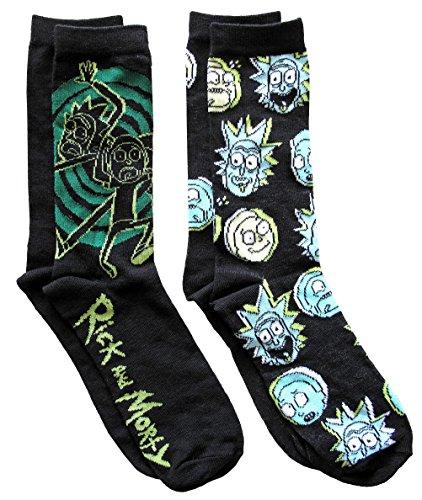 Rick and Morty Portal Men's Crew Socks 2 Pair Pack Shoe Size 6-12