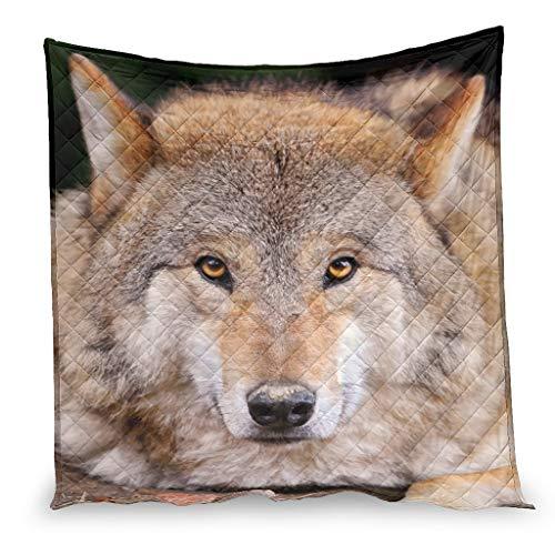 Bohohobo Wolf Animal - Edredón de aire acondicionado para asiento de coche, diseño de animales, 130 x 150 cm, color blanco