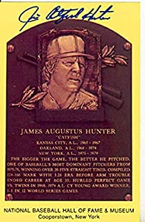 Jim Catfish Hunter Autographed Baseball HOF Plaque - Autographed MLB Photos