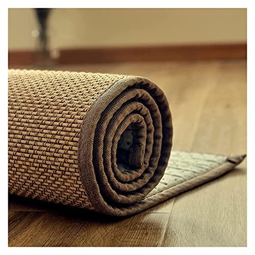 Tradicional Natural Bambú Fibra Alfombra trenzada de bambú rectangular anti resbalón, tapete de bambú multiusos, alfombra para el hogar de verano para dormitorio de cocina, cortina natural beige