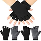 2 Pairs Moisturizing Gloves Hand Gloves Fingerless Moisturizing Glove Day Night Instantly Repair Eczema for Dry Rough and Cracked Hands (Black)