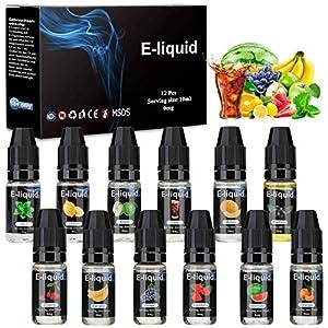 E-Líquido, 12 X 10mL E Liquido Vaper Sin Nicotina, E-Liquid VG50/PG50, Set E-Líquido Para Cigarrillos Electrónicos/E Shisha/E Hookah (0,0mg nicotina)