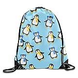 engzhoushi Mochila de Cuerda,Bolsa de Cuerdas Drawstring Gym Sport Bag Cute Christmas Penguin Travel Bag