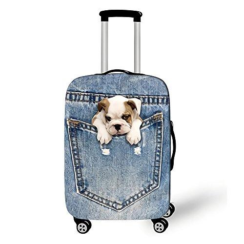 Copri valigia, Custodia protettiva per bagagli, Coperchio di protezione antipolvere con cerniera antipolvere elastico elasticizzato Animali nel modello di jeans
