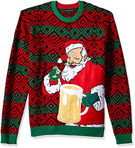 Blizzard Bay Men's Ugly Christmas Sweater Drink Pocket, Red, XX-Large