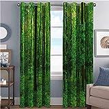 Cortinas opacas con aislamiento de juntas, con árboles y arbustos, diseño idílico rural, follaje fresco y ecológico para sala de estar, color verde