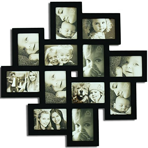 Adeco Decorative Wood Wall Hanging Collage Picture Photo Frame, 12 Openings, 4x6 (Black)