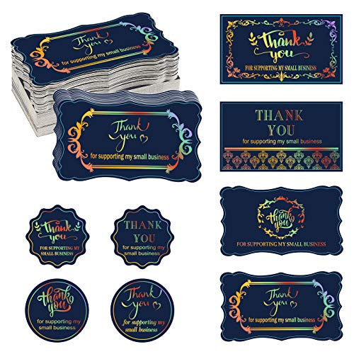 520PCS Thank You for Supporting My Small Business Cards and Thank You for Supporting My Small Business Stickers Thank You Labels Appreciation Note Cards for Business Present Bags