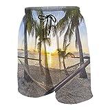 LUDOAN Traje de baño para Hombre,Playa Tropical Paradise al Atardecer con Hamaca,Ropa de Playa Trajes de baño Shorts de baño Trajes de baño S