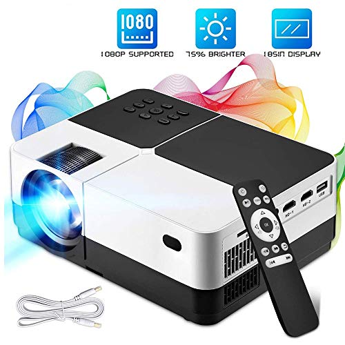 TZY Portable Home Theater Projector Best 84-LED Outdoor Movie Projector - Support 1080P - Compatible with Fire TV Stick, PS4, HDMI, VGA, AV and USB