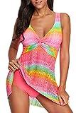 momolove Women's One-Piece Swim Dresses Printed V Neck Swimsuit Modest Skirted Swimwear Rose L