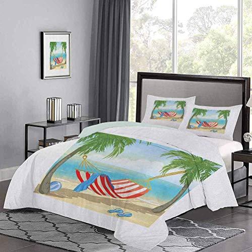 Yoyon Kinder 'Quilt Set Hängematte zwischen Palmen am Strand Cartoon Style Illustration Digital Composition Bettbezug Sehr weich, bequem und edel Mehrfarbig