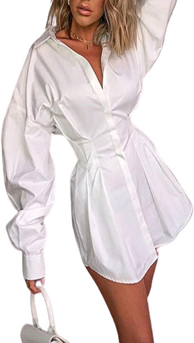 RONGW Women Sexy Shirt Dress Long Sleeve Casual Button Down Shirt V Neck Belted Tunic Blouse Dress