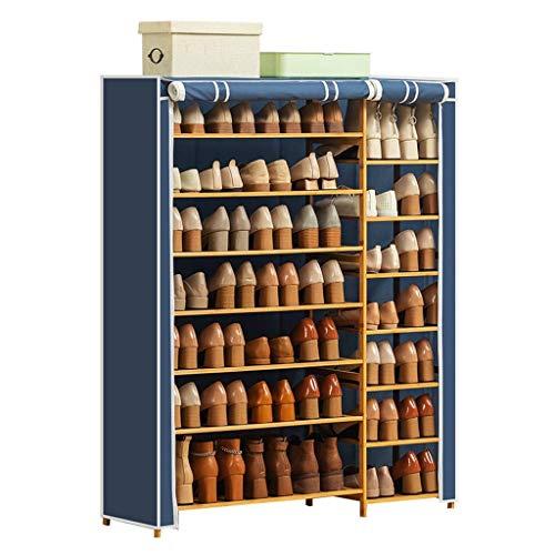El almacenamiento en zapatero es simple y práctico Bastidores de zapatos 7 niveles Zapato de zapatos Doble fila Estante de zapata de almacenamiento con cubierta a prueba de polvo y marco de madera par
