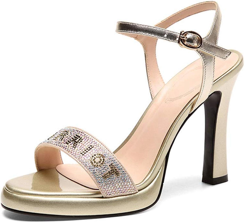 High Heels, Sommer Damen Super High Heels Sandalen Buchstaben Hohle Mode Fisch Mund wasserdichte Plattform Metall Gürtelschnalle dick mit High Heels Sandalen