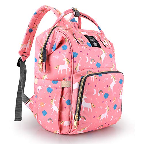 Pink Unicorn Diaper Bag Backpack Multi-Function Waterproof Travel Maternity Nappy Bookbag Large Diaper Bag Backpack for Dad Mom,Durable and Stylish,Baby Diaper Bag for Boys Girls (Pink)