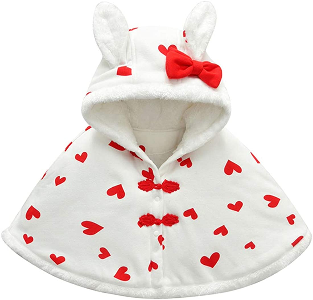 Toddler Infant Girls Hooded Cape Coat Cute Rabbit Ear Cloak Coat Snowsuit Outwear