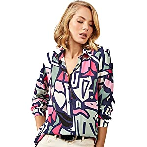 Blouses for Women Fashion, Casual Long Sleeve Button Down Shirts Tops, XS-3XL