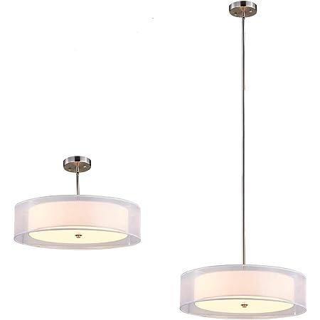 Tzoe Drum Light Double Drum Chandelier White 3 Light Drum Pendant Light 20 Adjustable Height Brushed Nickel Finish Ul Listed