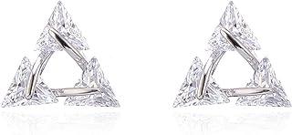 Orecchini a lobo per le donne, oro rosa o argento orecchino per le ragazze orecchino di cristallo creato diamante orecchin...