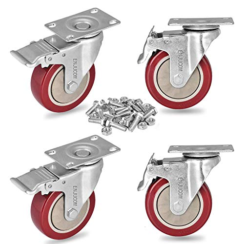 ENJUCOM 4 inch Swivel Caster Wheels Heavy Duty 1200 LBS Capacity with Safety Dual Caster 4 Pack All with Brakewith 16 Bolts amp 16 Nuts