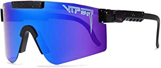Men Sport Polarized Eyewear Oversized Purple Mirrored Sunglasses Adjustable Frame UV400 Protection Pit Viper