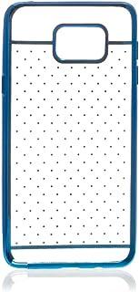 Silica DMU011BLUE Transparent Silicone Case with Samsung Note 5 Metallic Trim Blue