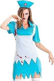 iLOOSKR Halloween Novelty Costume Women Cosplay Nurse Skirt Patchwork Mini A-Line Dress