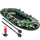 EPROSMIN 4 Person Inflatable Boat Canoe - 9FT Raft Inflatable Kayak with Air Pump Rope Paddle 2,3 or 4 Person Boat for Adults and Kids, Portable Camouflage Fishing Boat