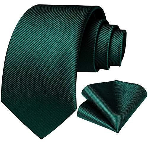DiBanGu Solid Emerald Green Tie for Men Wedding Business Silk Necktie Handkerchief Plain Ties and Pocket Square Set