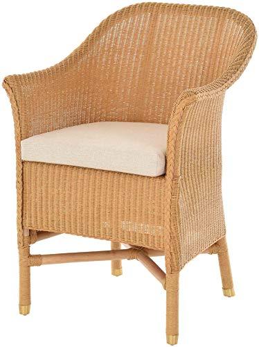 korb.outlet Loom-Sessel inkl. Polster Esszimmersessel aus echtem Loom-Geflecht Loomstuhl mit Armlehnen Loomsessel (Honig)