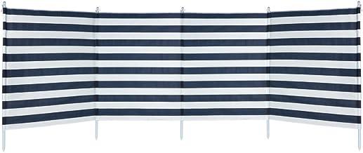 Aktive - Paravientos 4 paneles rayas azules, 3.2 x 2.5 x 1.