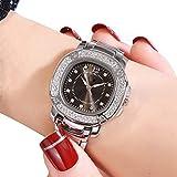 Venda de Reloj de Acero de Las Mujeres del Reloj de Las Mujeres de Las Mujeres a Prueba de Agua con Diamantes Cuero de Acero Inoxidable (Color : Silver Shell Black Plate)