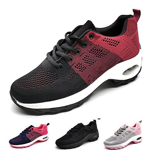 Zapatillas Deportivas para Mujer con Cuña de Camara de Aire Muy Transpirables y Ligeras con Bmabas con Plataforma Moda Deportiva Negro Burdeos 39