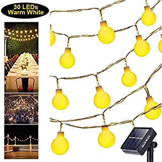 Solar String Lights Globe Warm White Light Waterproof Decoration Light 30 LEDs Fairy Lamp for Outdoor Home Patio Lawn Garden Gazebo Party Holiday Festival Bedroom Window