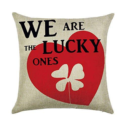 Inconnu Sunone11 de Saint-Valentin Taie d'oreiller Couvre-Lit Taie d'oreiller Canapé Canapé Taille Coussin de Dossier Housse de Protection carré 43,2 x 43,2 cm 45 cm x 45 cm We are The Lucky One