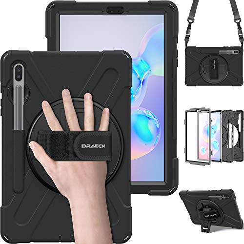 BRAECN Galaxy Tab S6 Case,[Support S Pen Wireless Charging] Hybrid Heavy Duty Shockproof Case with Pen Holder,Hand Strap,Shoulder Strap,Kickstand for Galaxy Tab S6 10.5 2019 SM-T860/T865/T867-Black
