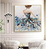 Niña Pintada A Mano Vista Trasera Pintura Al Óleo sobre Lienzo - Abstracto De Gran Tamaño Pintura Mural Cartel para La Luz De Entrada del Pasillo De Lujo Decoración del Hogar, 150X150Cm Sin Enma