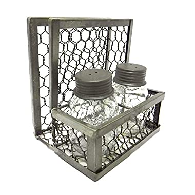 Chicken Wire Napkin Holder with Mason Jar Salt & Pepper Shakers